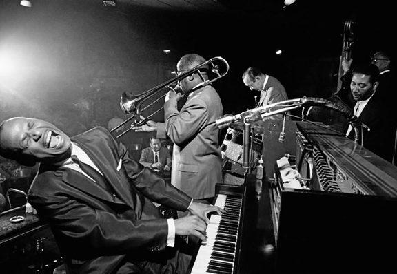 instrumentos de jazz y músicos
